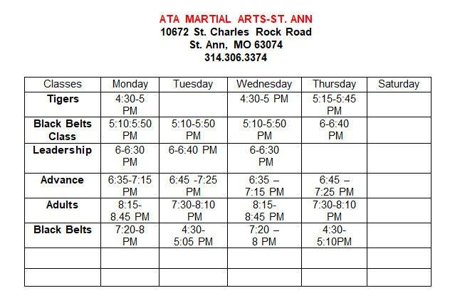 ATA Taekwondow Martial Arts Class Schedule